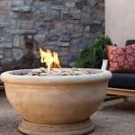 Eldorado Marbella Fire Bowl in Oak Barrel Travertine